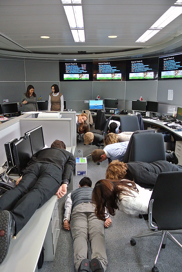 Nestle global DAT staff planking in their office together with me - super awesome!