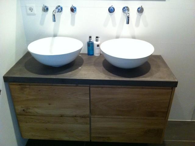 ikea badkamer meubel met nieuwe fronten en betonnen blad  Flickr