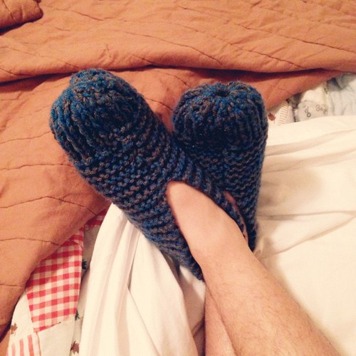 Yay! I finished zac's knitted slippers :) #knit #grannybooties