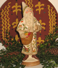 Chalkware German Santa with Bag of Apples