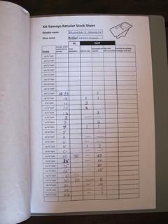 Retailer stock sheet 1 of 2