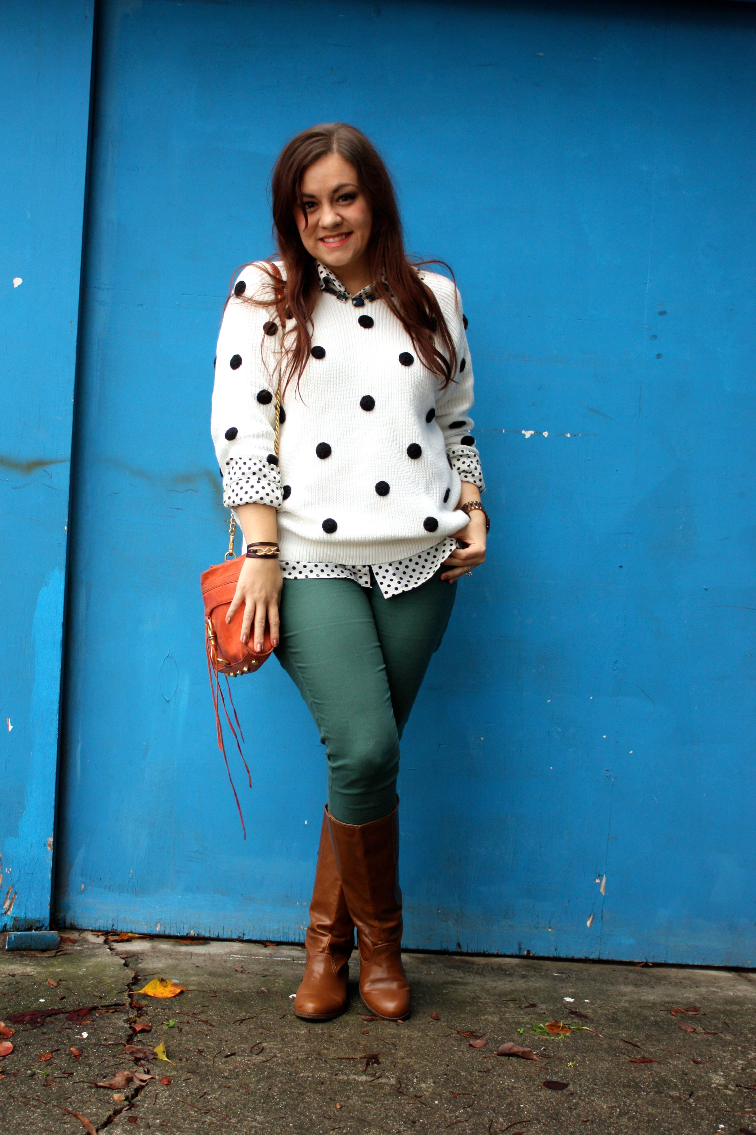 polka dot sweater and blouse - forest green jeans - congac boots - orange rebecca minkoff mac01
