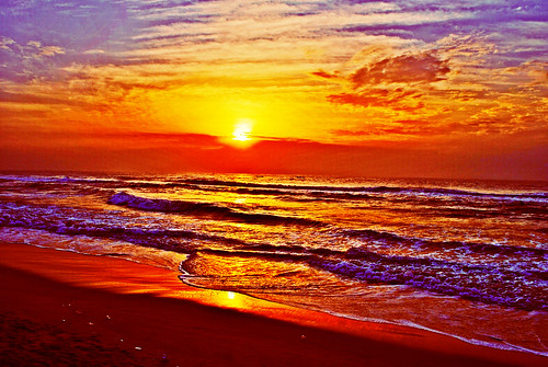 [フリー画像素材] 自然風景, 朝焼け・夕焼け, ビーチ・海岸, 海 ID:201212082000