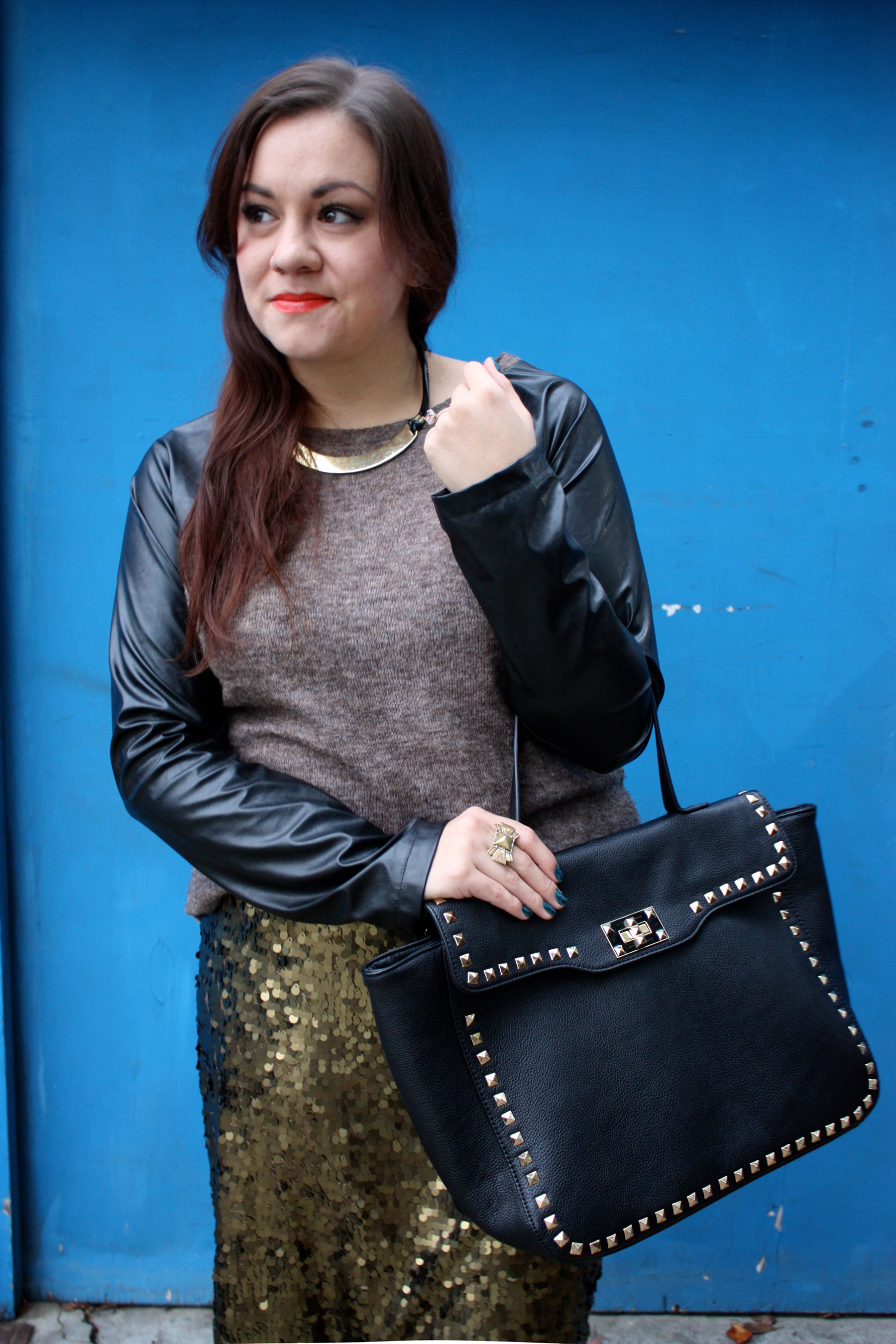 sequin pencil skirt - leather sleeve raglan sweater - studded trim tote - tights - ankle boots10