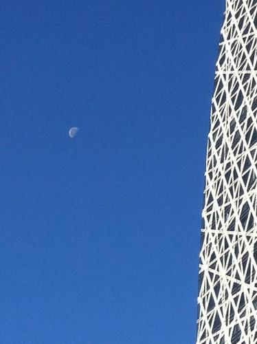天晴れな冬空に浮かぶ月