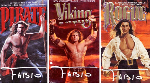 Three romance novels with Fabio on the cover in various stages of chest-baring swashbucklling