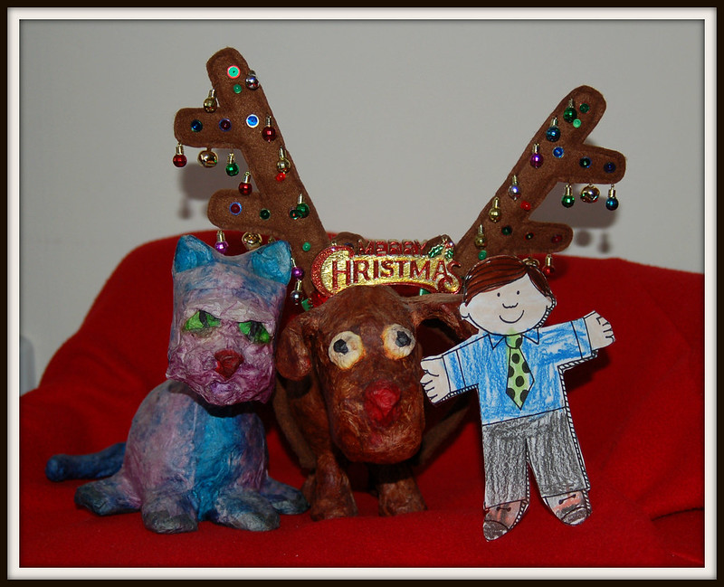 Christmas_Purq_Cow_Dog_Flat_Stanley_framed