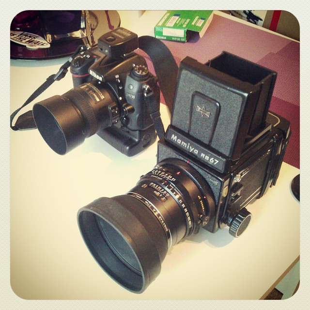 Nikon D7000 and Mamiya RB67 side by side