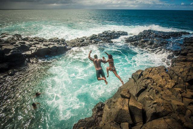 Jumping at the Queen's Bath, Kauai