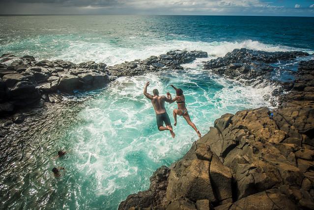 Jumping at the Queen's Bath, Kauai