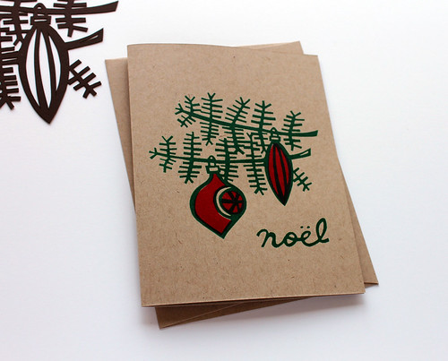 Hand screen printed retro holiday cards