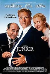 The Junior DVD cover, with Emma Thompson smiling over Arnie's shoulder, him smiling, and Danny DeVito holding a stethoscope to Arnie's pregnant belly. The tagline is: Nothing is inconceiveable.