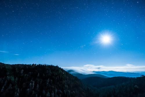 sky moon mountains night clouds dark stars nc asheville moonrise blueridgeparkway brp