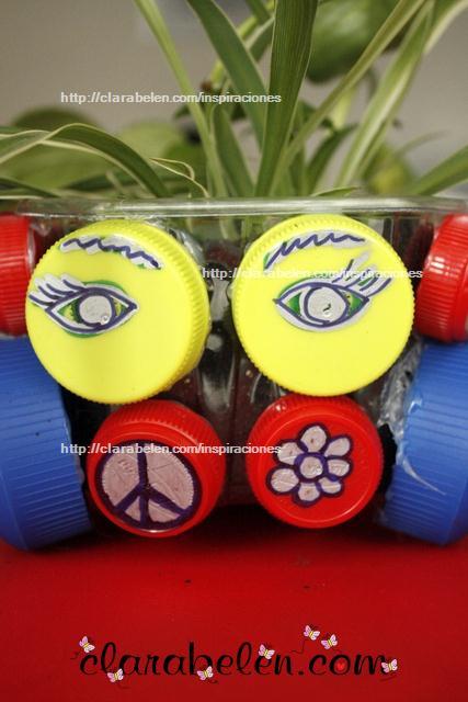 Reciclar tapones para hacer un macertero hippie en el dia de la madre