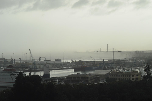Misty port from the Alcazaba