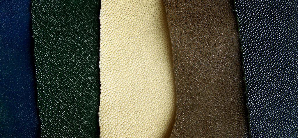 cuir de galuchat-bleu-vert-ivoire-chataigne-noir couteau sur mesure