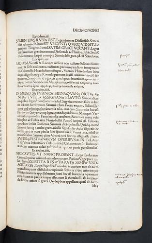 Manuscript annotations in Barbarus, Hermolaus: Castigationes Plinianae et Pomponii Melae