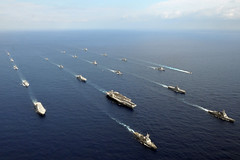 Twenty-six ships from the U.S. Navy and the Japan Maritime Self-Defense Force, including ships from the George Washington Strike Group, steam together in the East China Sea Nov. 16 after the conclusion of exercise Keen Sword. (U.S. Navy photo by Chief Mass Communication Specialist Jennifer A. Villalovos)