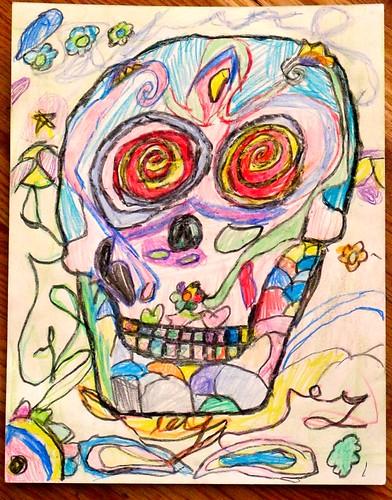 R's Crayon Sugar Skull