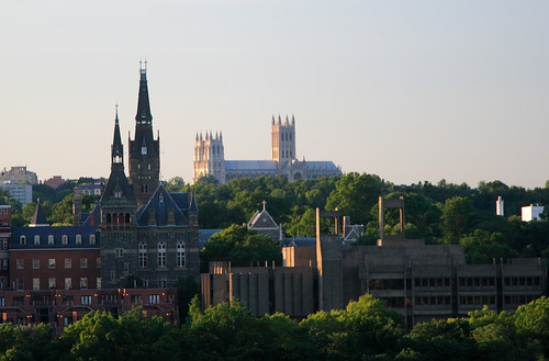 Georgetown University, foreground, and Washington National Cathedral (by: ehpien, creative commons)