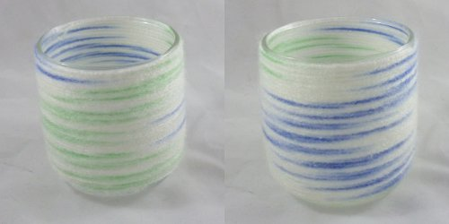 Wool wrapped blue and green candle holders