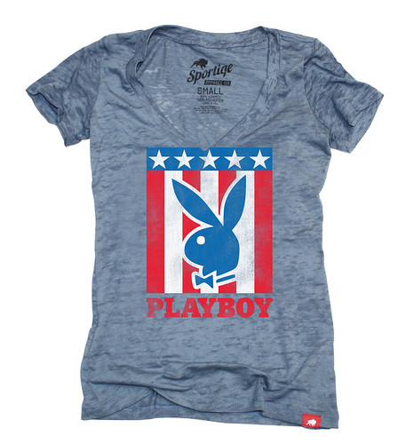 Playboy Sportiqe Women's USA Bunny V-Neck T-Shirt