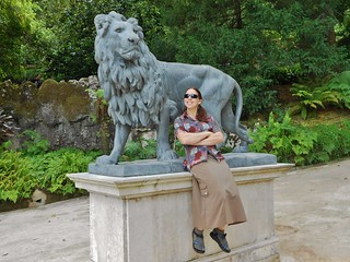 Clare With Lion Sculpture