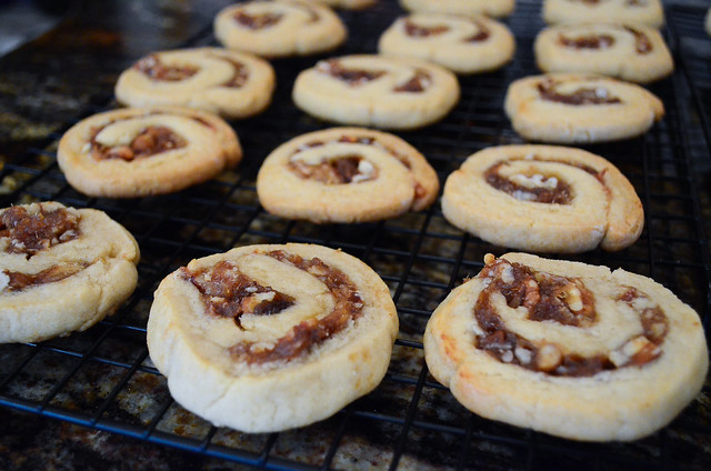 Date Pinwheel Cookies cooling off on a wire rack.