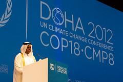 卡達副首相、本屆大會主席Abdullah Bin Hamad Al-Attiyah於開幕式中發言(照片取自卡達COP18官方網站)