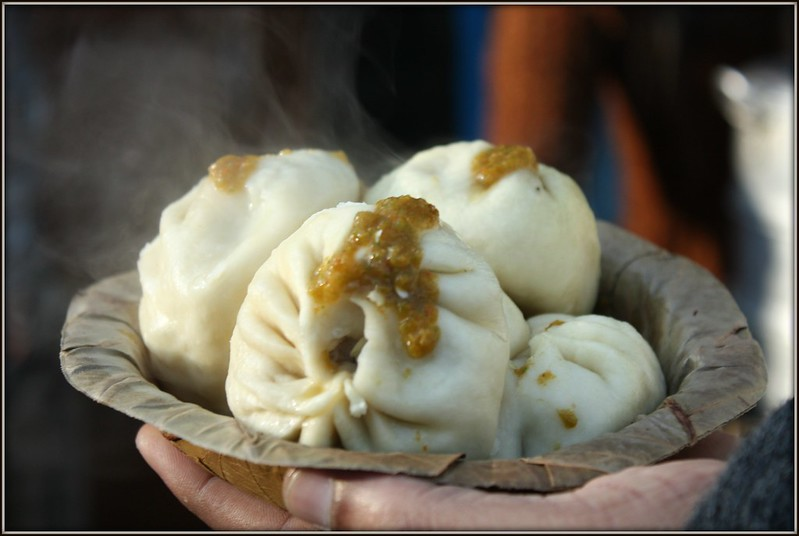 steaming hot momos
