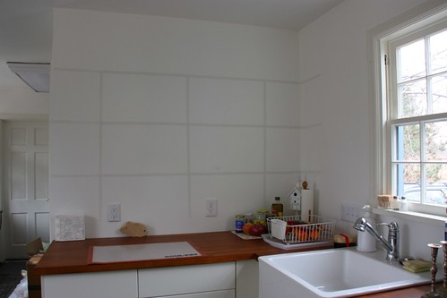 Working out placement of the kitchen shelves