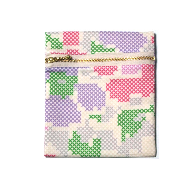 zipper pouch - stitched flowers