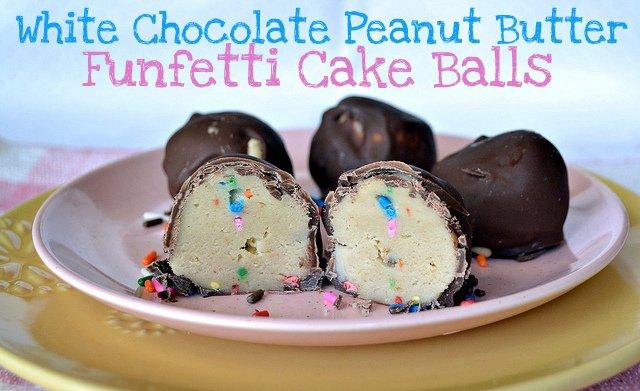 white chocolate peanut butter funfetti cake balls