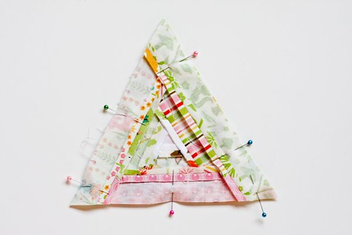 Triangular Log Cabin Pincushion Tutorial by Jeni Baker