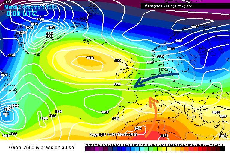 carte de situation du contraste thermique entre le Nord et le Sud le 2 décembre 1952 météopassion