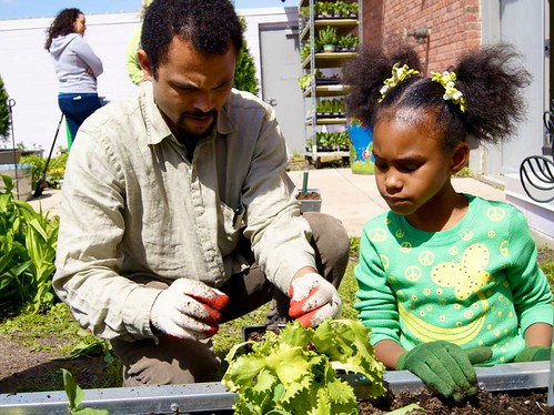 Lessons at St. Philip's Academy in Newark, NJ put an emphasis on fresh, healthy foods like those grown in their garden.