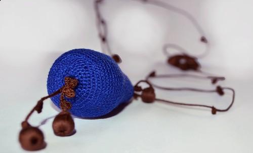 Crochet necklace - Blue Pear