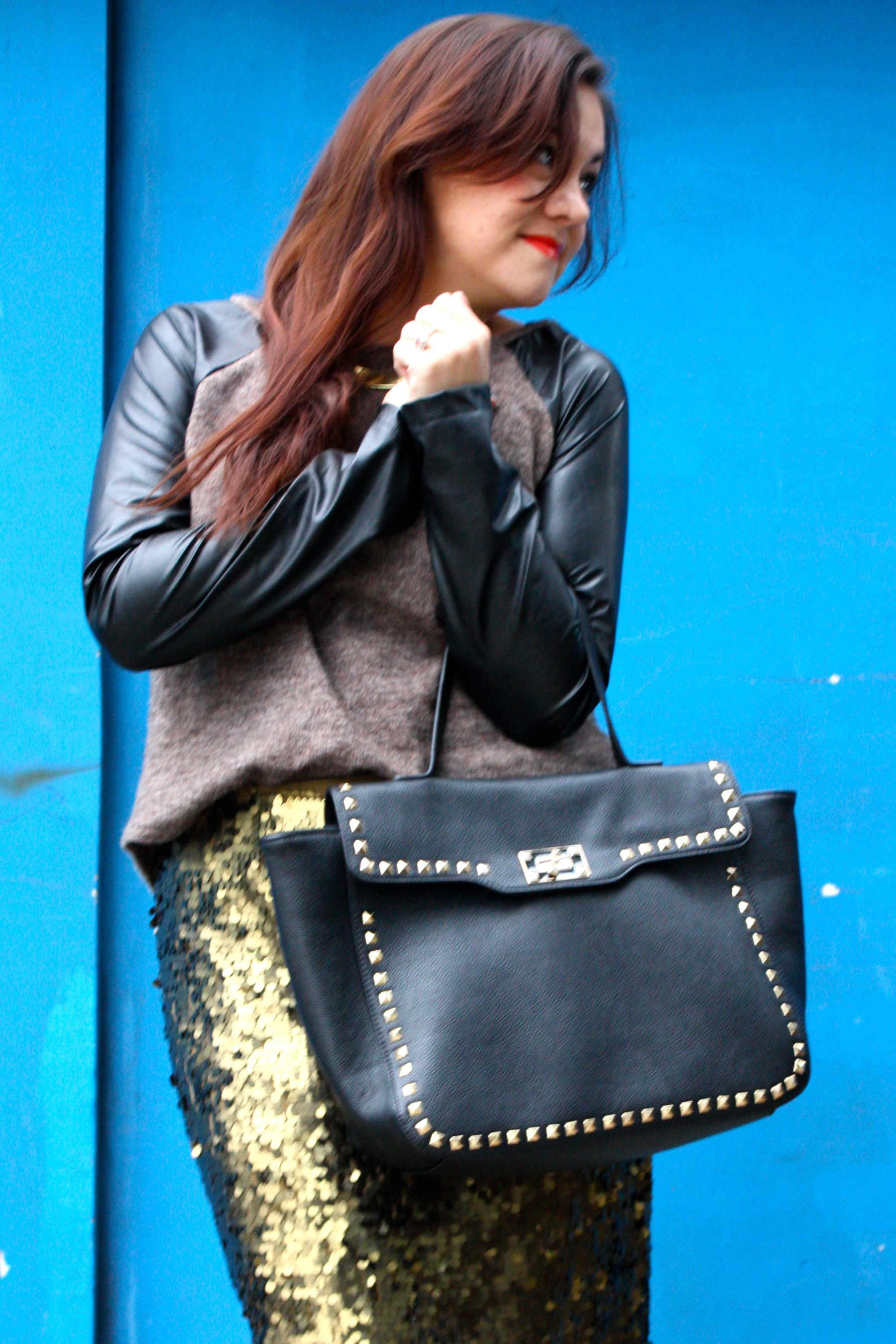 sequin pencil skirt - leather sleeve raglan sweater - studded trim tote - tights - ankle boots08