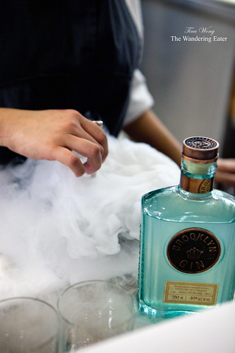Stirring liquid nitrogen with the Brooklyn Gin