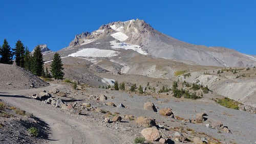 Mount Hood from near the Timberline Lodge. It's very, very unconsolidated, and has a horrible habit of having major bits wash down and wipe out roads. But it's pretty!