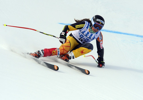 Marie-Pier Préfontaine races in super-G in St. Moritz, Switzerland.