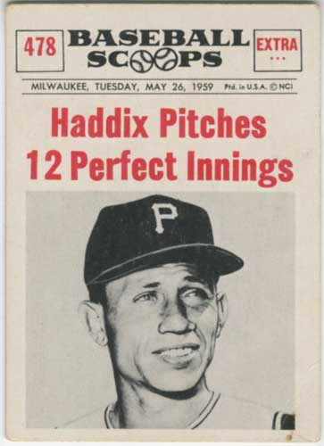 1961 Nu-Card Scoops Harvey Haddix