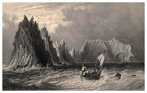 011-Los Needles y la bahia Scratchell- Barber's picturesque guide to the Isle of Wight (1850)