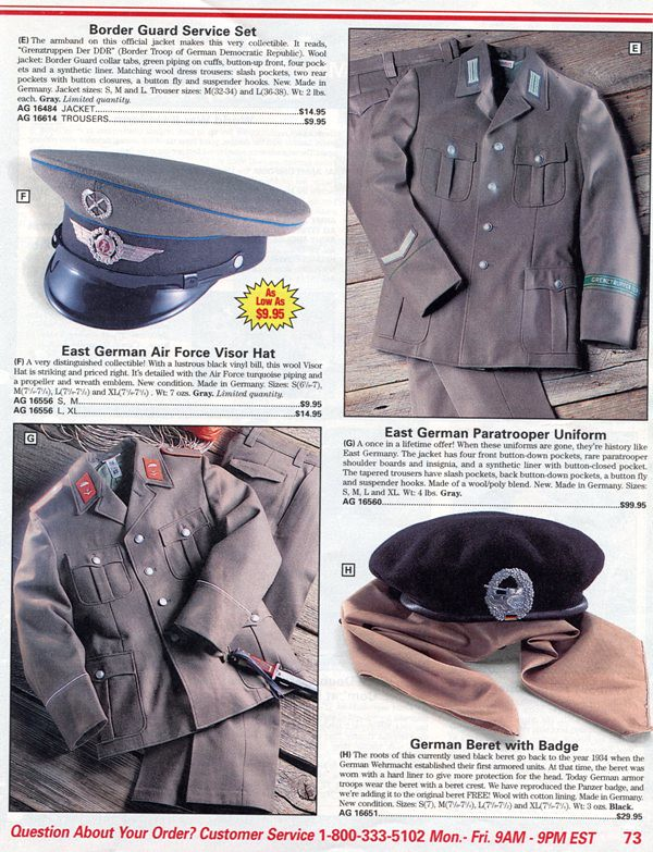 US Cavalry Store 1997 Catalog East German Items - Wehrmacht