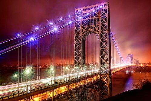 nyc longexposure bridge newyork rain night geotagged newjersey manhattan nopeople license gothamist hdr fortlee gettyimages georgewashingtonbridge mudpig stevekelley stevenkelley