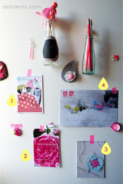 cartoline dei blog di alcune amiche sulla mia parete decor