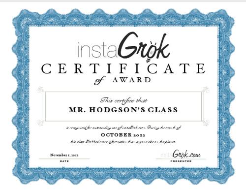 InstaGrok Certificate