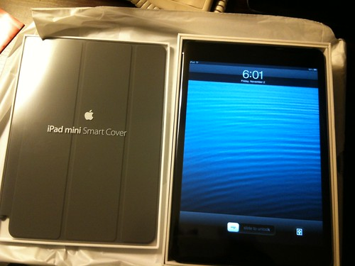 iPad mini and dark gray Smart Cover