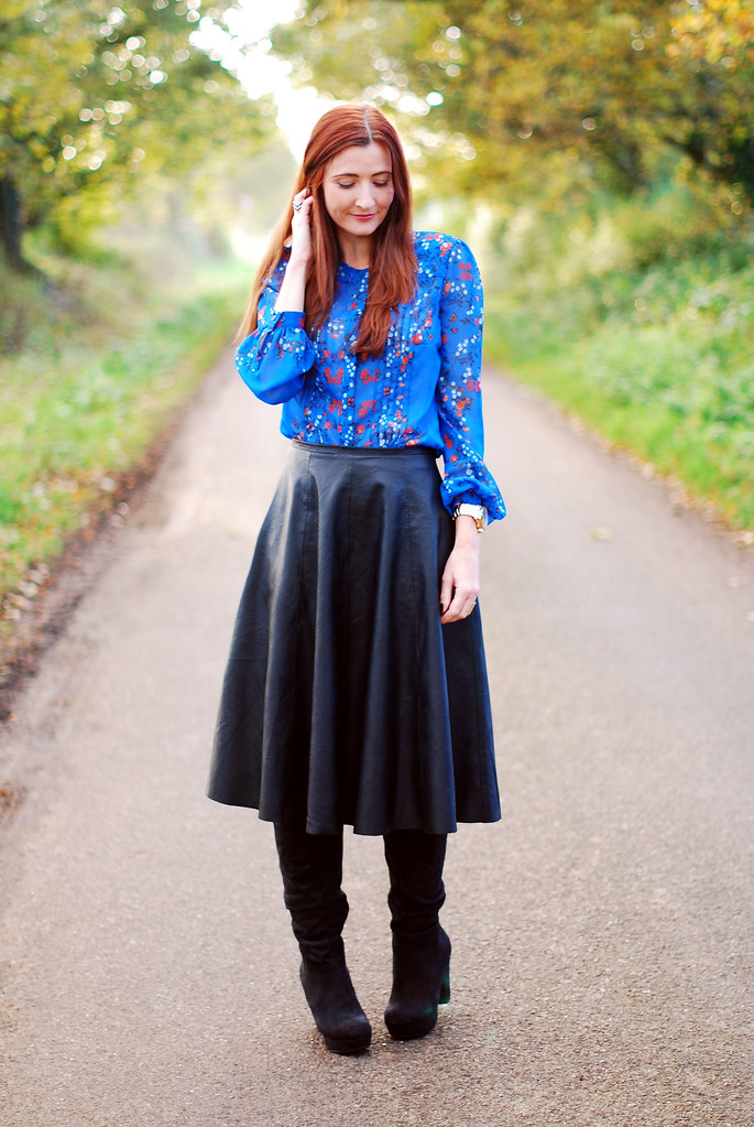 Boots, Blue Florals and Black Leather