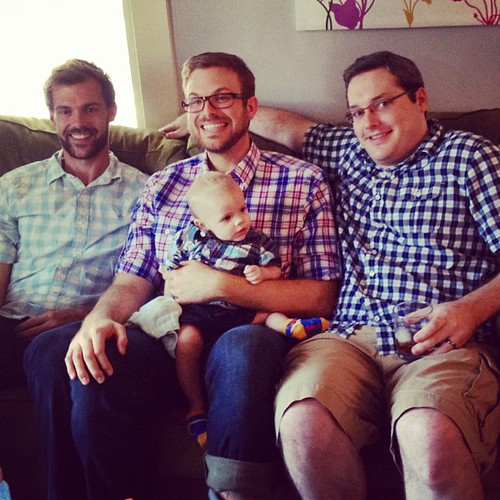 Three men and a baby! #fakesgiving #plaidpatrol